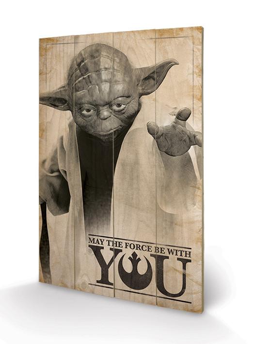 Obraz na dřevě Star Wars -  Yoda, May The Force Be With You